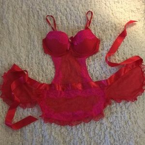 VS Red Pink Lace Polka Dots Lingerie